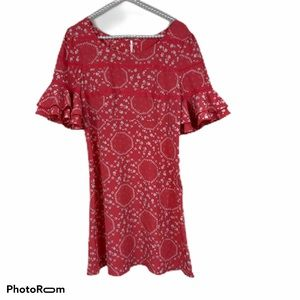 Free People coral floral dress 0 lace ruffle NWOT